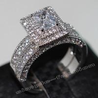 Wholesale handmade ring settings - Fashion Jewelry Handmade 138pcs Gem 5A Zircon stone 14KT White Gold Filled Engagement Wedding Band Ring Bridal Set Sz 5-11