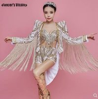 женская одежда для певцов оптовых-Rhinestone Bodysuit Sequin Dj Performance Costume Dance Stage Female Singer Clothing Three-piece Bar Nightclub Sequin Dress