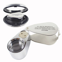 Wholesale Glass Coins - 40X LED Jewelry Magnifier Folding Magnifying Glass Loupe with Box Jeweler Eye Loupe for Currency Coins Stamps Appraisal Tool HOT