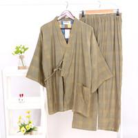 gevşek pijama toptan satış-Erkekler Japon Tarzı Kimono Pijama Takımı Pamuk Üst Gömlek Pantolon Takım Elbise Yumuşak Rahat Gevşek Fit Sümer