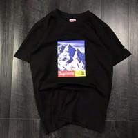 camisas para mulheres venda por atacado-Três Modelos de Verão T Shirt Com Letras Neve Montanha Designer De Luxo Homens Tops Roupas Tripulação Pescoço Casual Mulheres Camisa de Manga Curta M-XXL