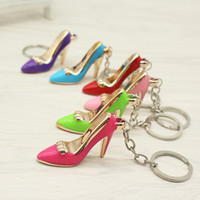 Wholesale Shoe Heel Rings - 2018 Shoes Keychain Purse Pendant Bags Cars Shoe Ring Holder Chains Key Rings For Women Gifts Women acrylic High Heeled
