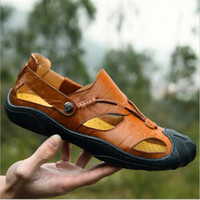 Wholesale Cattle Leather Shoes - Luxury first layer of cattle leather Men Sandals Outdoor Summer Handmade Shoes for Male Breathable Casual Footwear Slip On Walking Sandals