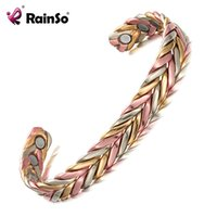 Discount fashion magnetic therapy bracelet - Rainso Brand Fashion Jewelry Pure Copper Bangles for Women Open Cuff Adjust freely Magnetic Therapy Bracelets & Bangles OCB-158