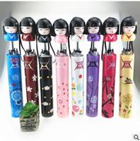 bonecas japonês kokeshi venda por atacado-Criativo Dos Desenhos Animados Boneca Da Menina Japonesa Guarda-chuva Novidade Kokeshi Guarda-chuva Dobrável Garrafa Bonito Ensolarado E Chuvoso Guarda-chuvas