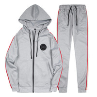 Wholesale plus size active wear - Spring Homme Tracksuit Striped Design Pullover With Pencil Pants Suits 2ps\set Casual Outdoor Suit Men Wear Plus US Size