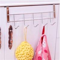 marcos de espejo para pared al por mayor-2018 ventas calientes ventas al por mayor 5 ganchos puerta trasera gabinete de cocina sorteo puerta percha ropa toalla cucharas bastidor