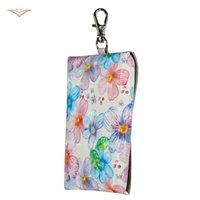 Wholesale Purses Water Resistant - 2018 Newest Universal Keychai Snap Fastener Leather Key Case For Card Cable Headphones Pouch Purse Skull Flower Heart Love Cover