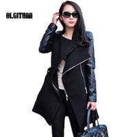 лоскутное пальто оптовых-Женщины пальто 2017 мода женщины тренч осень зима лоскутное женская длинная шерсть PU кожаный рукав ветровка куртка пальто S-4XL