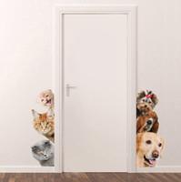 ingrosso arte animali domestici-Adesivi murali porta 3D cane cane rimovibile soggiorno camera da letto adesivi murali camera da letto animali murale arte carta da parati carino divertente Pet adesivi murali