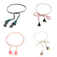 Wholesale braided rope belt women for sale - Group buy Fashion Women Braid Woven Belt Thin Tassel Rope Waist Belts for Dresses Waistband Knot Decorated Cotton String