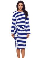 97076fb84c0cb VOGUE elbise, Avrupa ve Amerikan yeni kadın çizgili yuvarlak yakalı uzun  kollu sağ yan tasarım kırışıklık katlama büyük boy elbise.
