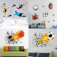 Wholesale Home Decoration Images - Home decoration Modular images Wall stickers football 3D stickers Stick on the wall Kid room decoration The world cup 3d wallpaper