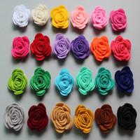 handgemachtes fühlendes haar großhandel-Kostenloser Versand! Neue 60pcs / lot 24colors arbeiten handgemachte Filz-rosafarbene Blume Diy für Haarzusatzstirnbandverzierungen um