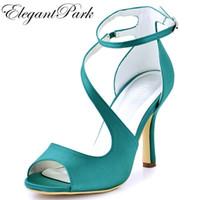 430bdd2bf04bb2 Frau High Heel Ankle Strap Sandalen Teal Lila Peep Toe Brautjungfer Satin  Prom Riemchen Pumps Braut Hochzeit Brautschuhe HP1565