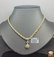 Wholesale yellow gold chain 22 - Pure 10k Yellow Gold Money Bag With Real Diamond Including 22 Inches Rope Chain