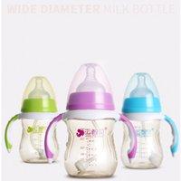 markalar bebek şişeleri toptan satış-Marka Bebek Şişe PPSU Besleme Şişe Silikon Meme Kolu ile Toz Kapağı Bebek Besleme Kolu ile Otomatik
