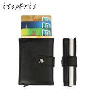 Wholesale Aluminum Credit Card Case Wallet - Itopkris PU Leather Automatic Credit Card Holder Travel Aluminum Men Business Card Wallet Quality Pop Up Blocking Money Case