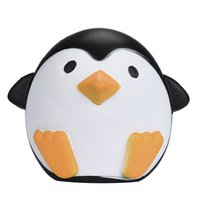 Wholesale lovely charms resale online - Lovely Animal Squishy Gift Black And White Penguin Shape Squishies Vent Charms Bread Cake Slow Rebound Plaything lga CR
