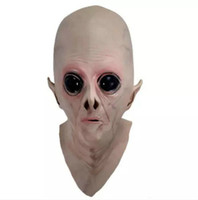 Wholesale ufo props resale online - Clearance Scary Silicone Face Mask Alien UFO Extra Terrestrial Party ET Horror Rubber Latex Full Masks For Halloween Party Toy Prop