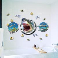 рыбные наклейки для детей ванная комната оптовых-3D акула рыба стены стикеры Home Decor ванная комната детская комната 9017. Приключение Обои Фильм Захватывающий Окно Наклейка