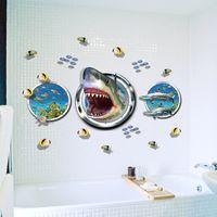 Wholesale Decal Shark - 3D Shark Fish Wall Stickers Home Decor Bathroom Kids Room 9017. Adventure Wallpaper Movie Thrilling Window Decal Sticker