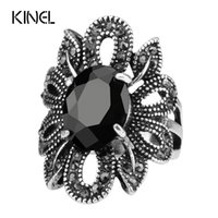 Wholesale Rings Hipsters - 2017 Punk Rock Ring Jewelry Silver Color Ancient Ways Black Stones Hollow Out Female Personality Hipster Index Finger Rings