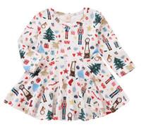 kleines mädchenkleid entwirft sommer großhandel-Weihnachtsgeschenk Niedliches Kleinkind-Baby-Mädchen-Weihnachtsmann-Rock weißes printe Kleid Long-Sleeves Rock Outfits Set
