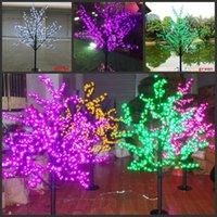 ingrosso ha condotto l'albero artificiale della ciliegia chiara-1.5 M 5ft Altezza LED Artificiale Cherry Blossom Alberi Luce di Natale 480/576 pz LED Lampadine 110/220 V impermeabile fairy garden decor