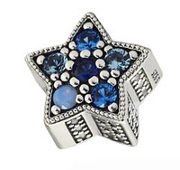 pulsera de pandora multi encanto al por mayor-100% 925 Sterling Silver Blue Bright Star Charm Multi-Colored Crystal Beads Fit Pandora Charms Pulsera Diy Jewelry
