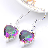 Wholesale Mystic Topaz Silver Earrings - 6 Pairs Luckyshine Superb valentines'day Colored Fire Mystic Topaz Gems 925 Sterling Silver Plated Drop Earrings Russia Canada Drop Earrings
