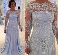 Wholesale image ice - Ice Blue 2017 Vintage Long Sleeves Mother of Bride Dresses Sheer Neck Lace Appliques Mother Of Groom Dresses Floor Length Mother's Dress