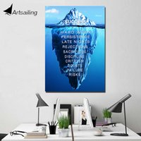Wholesale canvas motivational quotes - ArtSailing 1 panel painting art Successful inspirational quotes Painting wall pictures iceburg motivational poster
