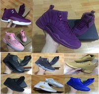 Wholesale Christmas Cushions - With box Air Retro 12 Bordeaux Dark Grey Basketball Shoes Men Sport Shoe Bordeaux 12s Sports Athletic Trainers High Quality Sneakers