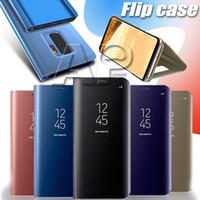 galvanisierte iphone klare fälle großhandel-Flip case für samsung s10 5g s9 plus s10e hinweis 9 handyhalter galvanisieren klar smart spiegel abdeckung für iphone xs max xr