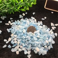 Wholesale Blue Stone Mineral - wholesale 50g Natural Aquamarine Quartz Crystal Stone Rock Chips Specimen Lucky crystal love natural stones and minerals Fish Tank stone