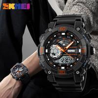 büyük saat göstergesi toptan satış-SK 1228 Erkekler Spor İzle Dijital Kuvars Saatler LED Büyük Arama Saat 30 M Su Geçirmez Çift Ekran Saatı Relogio Masculino