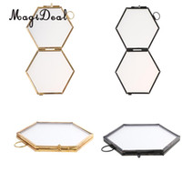 marcos de metal negro al por mayor-2pcs Vintage Hexágono Metal Glass Picture Photo Frame Marco colgante Negro + Cobre
