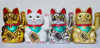 """Wholesale cat stores - Maneki Neko 5"""" 13cm Lucky Cat Waving Hand Chinese Feng Shui Home Store Decor Business Christmas gift Beckoning Wealth Fortune Plastic Toy"""