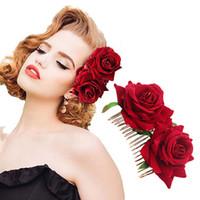 saç tokaları büyük çiçekler toptan satış-ADEDI: 10 ADET Kadınlar Düğün Klip Çiçekler Tokalar Seksi Büyük Gül Florals Gelin Headdress Saç Aksesuarları Için Plaj Süslemeleri