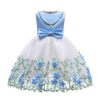 Wholesale evening dresses for children - Girls Pearl Princess Dresses Kids Flower Party Clothes Children Evening Dress For 100-150cm