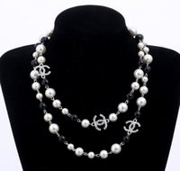 Wholesale Pearl Multi Chain Necklace - long pearls necklace letters Brand Women CC Necklace For Women Sweater Chain Multi-layer Flowers Simulated Pearls Necklaces Jewelry EXL 474