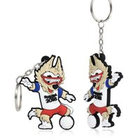 Wholesale wholesale mascot charms - High Quality Zabivaka Wolf Official Mascot FIFA Soccer World Cup 2018 Russia PVC Keychain Free Shipping