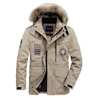куртка с воротником оптовых-M~4XL Autumn Winter Straight Men White Duck Down Jackets And Coat Fake Fur Collar Casual -Clothes High Quality ZDJP Khkai