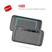 tv multitáctil android al por mayor-Mini 2.4G Wireless Keyboard Air Mouse IR Leaning H20 Teclado retroiluminado Multi-touch Touchpad para Laptop X96 Mini TV Box Android Tablet PC