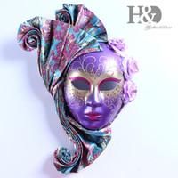 mascarilla morada al por mayor-HD Venetian Purple Full Face Masks Women Magic Masquerade Dressing Pretty Party fiesta de graduación bola de baile decoración de la pared arte