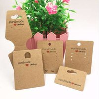 Wholesale handmade tags - 100pcs Kraft paper handmade with love jewelry cards,necklace\earring\Hairpin packing cards holder set jewelry displays card tags