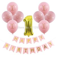 Hot selling 1st happy birthday banner first birthday party decorations gold printed balloons pink girl blue boy kids birthday party supply