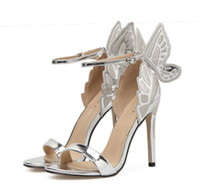 zapatos de boda de plata mariposas al por mayor-Zapatos de novia para novia Plata Mariposa Tobillo Correa Bombas Plata Champán Negro Tamaño 35 a 40