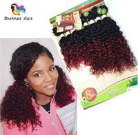 gevşek atkı saç uzantısı toptan satış-8 adet / grup Brezilyalı Gevşek Dalga Demetleri Saç Atkı Kinky Kıvırcık demetleri Kıvırcık Saç Ombre Kahverengi Bordo saç uzatma